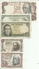 SPAIN SET 5 NOTES FRANCO PERIOD. F-VF. 3RW 1 ABRIL
