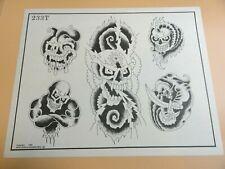 Vintage 1985 RARE Spaulding & Rogers Tattoo Flash Sheet #233T Skulls Demons