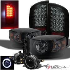 For 07-09 Ram Mystery Black Smoked Headlights + LED Tail Lights + Halo Pro Fog
