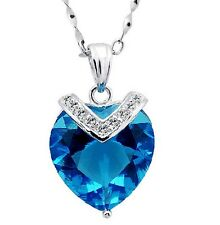 Womens 925 Sterling Silver Necklace Chain Blue Crystal Heart Pendant Gift Box E3