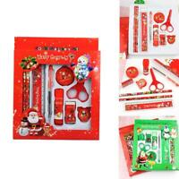 9pcs Pencil Ruler Eraser Sharpener Scissor Stationery Set Christmas Gifts N1X0