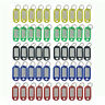 50Packs Plastic Key Tags Luggage Fobs ID Card Name Label Keychain W/Ring(5Color)
