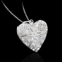 Collana ciondolo pendente medaglione Heart porta fotografia foto+catenina cuore