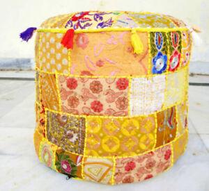 Indian Round Ottomans Bohemian 18'' Poufs Floor Pillows Yellow Seat Cushion Sham
