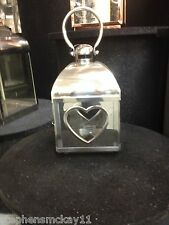Polished Stainless Steel, Tempered Glass Single Heart Lantern -  36x16x16cm