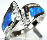 Blue Fire Opal Inlay & White Topaz Solid 925 Sterling Silver Ring size 6,7,8