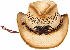 Summer 2-Tone Kids Cowboy Hat with Beaded String Cowboy Straw Hat