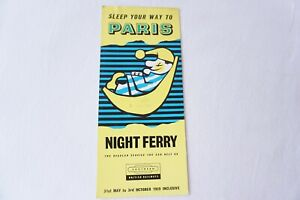 1959 Sleep Your Way To Paris Night Ferry Sleepers Railway Timetable Publicity