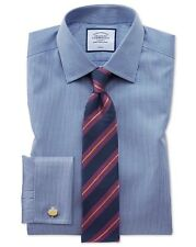 "Charles Tyrwhitt Double Cuff Classic Puppytooth Shirt 16.5"" Royal"