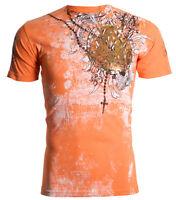 Archaic AFFLICTION Mens T-Shirt FAITH Rosary Tattoo Biker Gym MMA UFC $40
