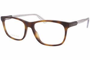 Gucci GG0490O 003 Eyeglasses Men's Havana/Clear Full Rim Optical Frame 53mm