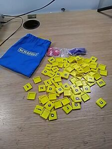 Scrabble Junior Replacement Spare Blue Bag, Letter Tiles and Counters-free-P&P