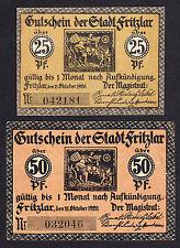 Fritzlar -Stadt- 25 Pf. und 50 Pf. v. 11.10.1920 mit KNr. (Rand: diagon. Linien)