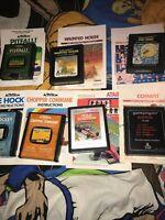 Lot Of 7 Atari 2600 Games Cartridges Pitfall Combat Pac-Man Haunted+manuals
