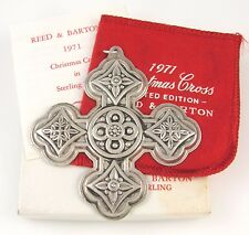 1971 Reed and Barton 925 Sterling Silver Christmas Cross Ornament w/Box J I