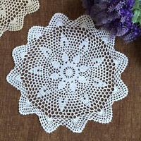 White Vintage Cotton Crochet Lace Doily Round Table Cloth Mats Doilies 35-40cm