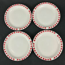 "Culinary Arts Stoneware FOUR 7 5/8"" Salad Plates Red Green Apples"