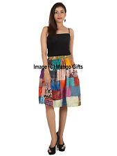 Patchwork Indian Silk Blend Sari Patchwork Knee Length Boho Girls Skirts Dress