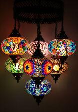 Turkish Morrocan Style Mosaic Multicolour Hanging Lamp Light 7 Large Globe