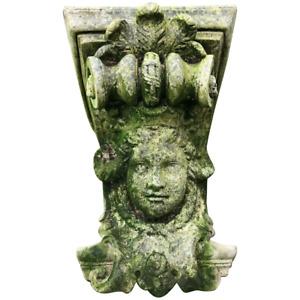 1 Architectural Medieval French Style Stone Cherub Acanthus Corner Garden Corbel