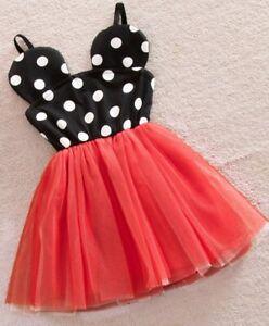 Sweet Cute polka dot princess Party birthday girls Minnie mouse dress size 1-6ys
