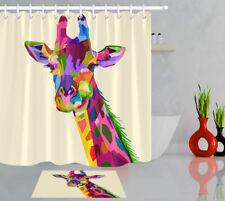 Colorful Wildlife Mammal Fauna Giraffe Polyester Fabric Shower Curtain Set 180cm