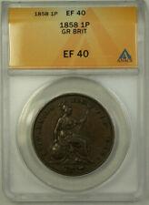 1858 Great Britain 1 Penny Coin Queen Victoria ANACS EF 40