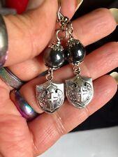 Hematite Cross Shield Stone Dangle Earings