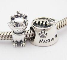 MY LOVELY CAT 2 CHARMS Beads SET Sterling Silver .925 for European Bracelet