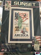 "Sunset ""Let Freedom Ring"" AMERICA -Cross Stitch kit, 9"" x 16"""