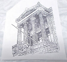 Collage Detailed Art Building rubber stamp Pillars Flag poles History unmounted