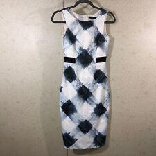 Karen Millen Women's Size 4 Sleeveless Midi Sheath Dress Large Plaid