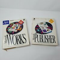 Vintage Microsoft Works & Microsoft Publisher boxes with inserts and manuals