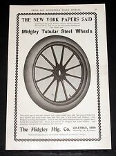 1903 OLD MAGAZINE PRINT AD, MIDGLEY STEEL CAR STEEL WHEELS, NOTEWORTHY FEATURES!