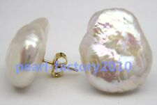Huge AAA 20X15 mm South Sea White Baroque Pearl Earrings 14K YELLOW GOLD