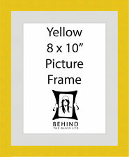 Handmade Yellow Wooden Picture Frame With Mount - 8 x 10''
