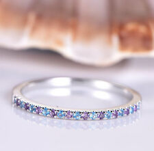 Round Cut Purple Blue Topaz Amethyst Infinity Wedding Band 9ct Solid White Gold