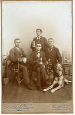 GREAT DANE DOG collar and students gents club beer steins SEPIA CAB Cabinet Card