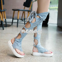 Womens Lace Up Thong Sandals Knee High Boots Denim Clip Toe Slingback Shoes Size