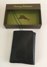 TOMMY BAHAMA BLACK LEATHER TRIFOLD CARD CASH WALLET NEW IN GIFT BOX