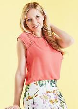 Darling London, Lightly Textured Coral Cap Sleeve Summer Top Size 12 NEW