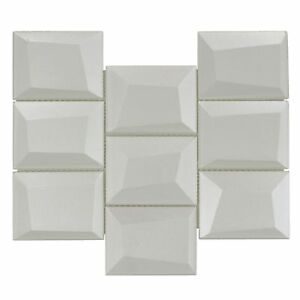 Modern Squares Silver Glossy Glass Mosaic Tile Backsplash Kitchen Wall MTO0148