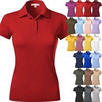 WOMENS POLO Shirts Premium Soft Short Sleeve Casual Uniform Extra Slim Fit Tee