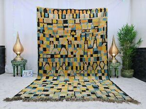 "Moroccan Boujaad Handmade Vintage Rug 6'3""x10'1""Berber Checkered Orange Blue Rug"