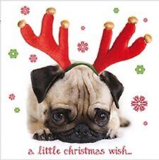 Luxury Christmas Cards Pack 10 | Cute Pug Dog Santa & Reindeer Antlers 2 Designs