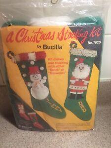Vtg BUCILLA Knit Christmas Stocking Kit #7820 - SEALED SNOWMAN or SANTA