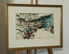 ANNIE SMITH Watercolour Painting of Dhow Boats in Zanzibar Harbour, East Africa