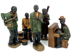 VINTAGE - 5 PIECE - 1920's BLACK AMERICAN JAZZ BAND POTTERY/PLASTER FIGURES