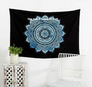 Indian Handmade Ombre Mandala Print Pure Cotton Small Size Tapestry Wall Hanging
