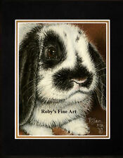 """Matted Rabbit Art Print Lop Eared Bunny """"Cute Factor"""" 8x10 Mat by Roby Baer PSA"""